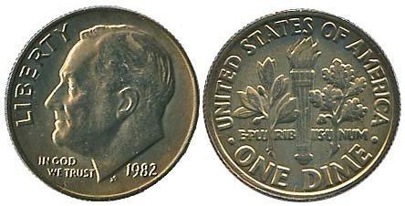 1535: 1982 USA ROOSEVELT DIME, NO 'P' MINTMARK