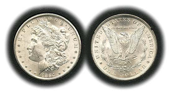 1543: 1884 USA MORGAN 1884CC SILVER DOLLAR IN GSA BOX