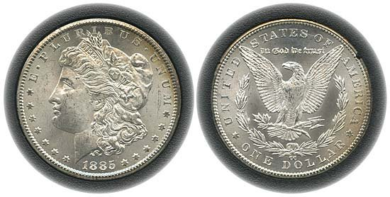 1544: 1885 USA GSA HOLDER WITH 1885CC MORGAN DOLLAR