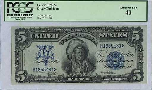 1645: 1899 SILVER CERTIFICATE #Fr 276 INDIAN CHIEF $5