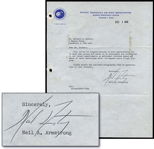 630: 1962 NEIL ARMSTRONG AUTOGRAPHED LETTER