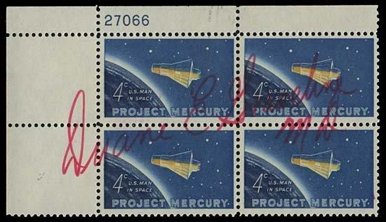 639: 1965  DUANE E. GRAVELINE AUTOGRAPHED PLATE BLOCK