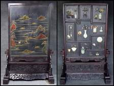 1033: TABLE SCREEN WITH JADE CARVINGS, QING STYLE
