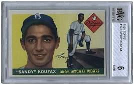879: 1955 TOPPS #123 SANDY KOUFAX ROOKIE (BVG 6 EX-MT)