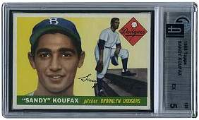 880: 1955 TOPPS #123 SANDY KOUFAX ROOKIE (GAI 5 EX)