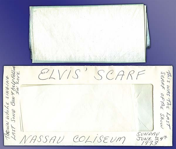 19: 1973 HALF SCARF THROWN FROM STAGE BY ELVIS