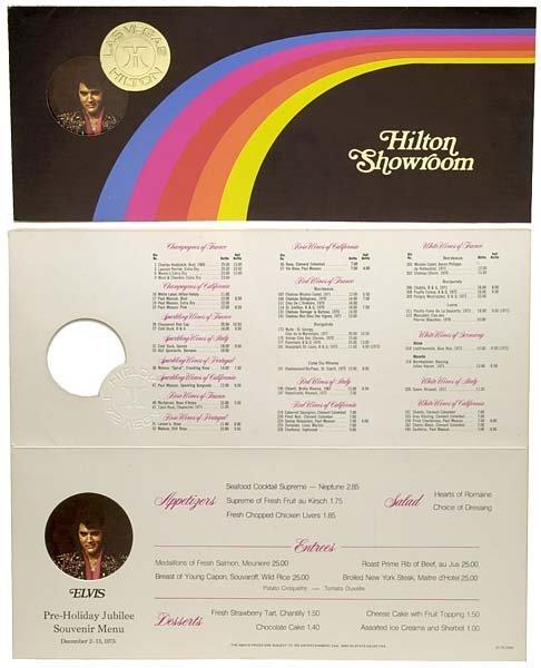 798: 1975 LAS VEGAS ORIGINAL ELVIS RAINBOW MENU