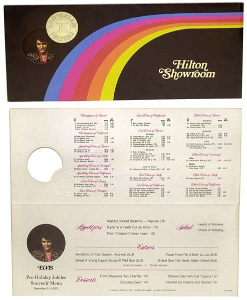 799: 1975 LAS VEGAS ORIGINAL ELVIS RAINBOW MENU