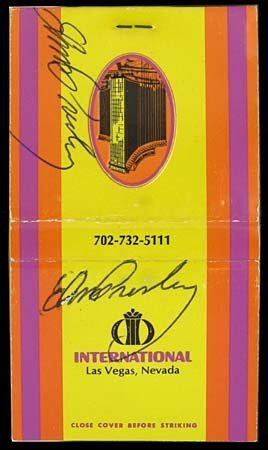 9: 1969 ELVIS DOUBLE SIGNED HOTEL MATCH BOOK
