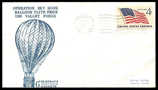 581: 1960 JAN 26th 'OPERATION SKYHOOK' LAUNCH COVER