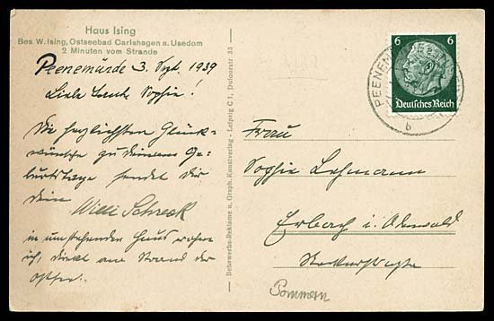 592: 1939 GERMANY SEPTEMBER 3, 1939 PICTURE POSTCARD