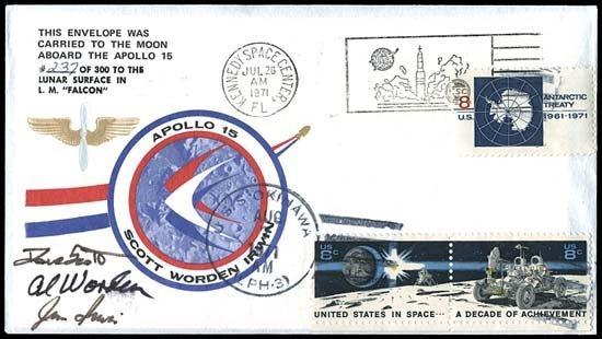 870: 1971 APOLLO 15 FLOWN COMPLETE CREW SIGNED COVER