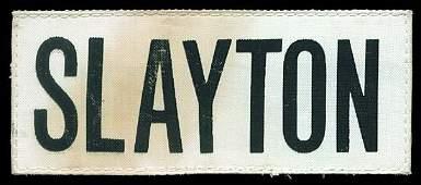 929 1975 FLOWN SLAYTON NAMETAG