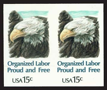 1739: USA #1831a ORGANIZED LABOR 15¢, IMPERF PAIR