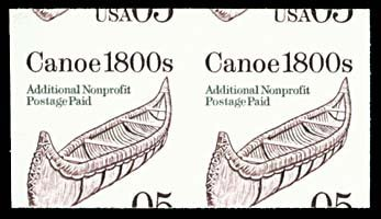 1744: 1991 USA #2453a CANOE 5¢ BROWN, IMPERF PAIR