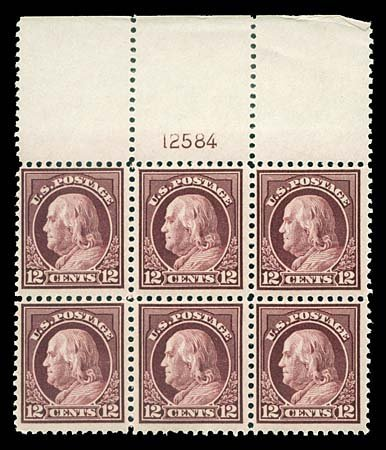 1748: USA #512 FRANKLIN 12¢ CLARET BROWN, PLATE BLOCK