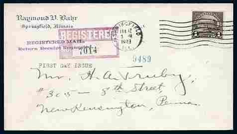 2361: USA #571 LINCOLN MEMORIAL $1 FDC SPRINGFIELD,IL