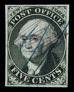1: 1846 USA #9X1 NEW YORK 5¢ BLACK