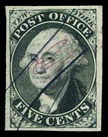 2: 1846 #9X1var NEW YORK 5¢ BLACK, DOUBLE TRANSFER