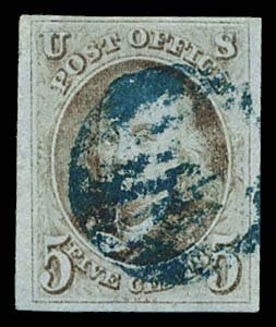 5: 1847 USA #1 FRANKLIN 5¢ RED BROWN