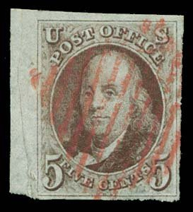 6: 1847 USA #1 FRANKLIN 5¢ RED BROWN