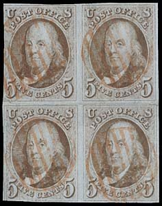 9: 1847 USA #1 FRANKLIN 5¢ RED BROWN, REMADE BLOCK