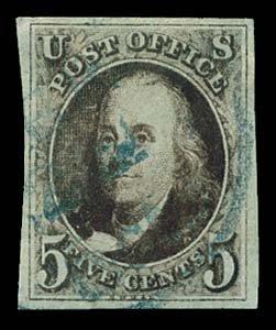 10: 1847 USA #1a FRANKLIN 5¢ DARK BROWN