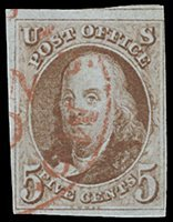 11: 1847 USA #1b FRANKLIN 5¢ ORANGE BROWN
