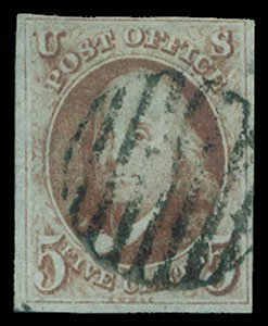 12: 1847 USA #1b FRANKLIN 5¢ ORANGE BROWN