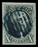 13: 1847 USA #2 WASHINGTON 10¢ BLACK