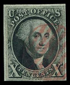 14: 1847 USA #2 WASHINGTON 10¢ BLACK