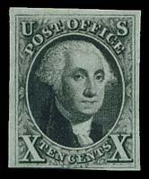 15: 1847 USA #2 WASHINGTON 10¢ BLACK