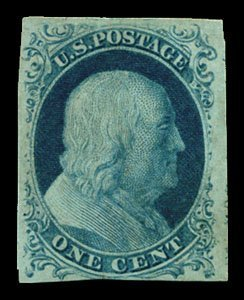 16: 1851 USA #7 FRANKLIN 1¢ BLUE TYPE II