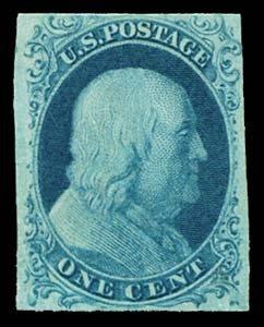 17: 1851 USA #7 FRANKLIN 1¢ BLUE TYPE II