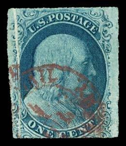 19: 1851 USA #7 FRANKLIN 1¢ BLUE TYPE II