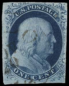 20: 1851 USA #7 var FRANKLIN 1¢ BLUE TYPE II