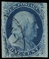 21: 1851 USA #7 var FRANKLIN 1¢ BLUE, CRACKED PLATE