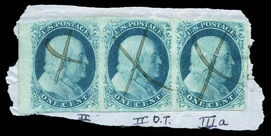 22: 1851 USA #7,8A 1¢ BLUE, STRIP, TYPES II/IIIa