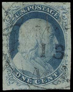 24: 1851 USA #8A FRANKLIN 1¢ BLUE TYPE IIIa