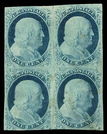 26: 1852 USA #9 FRANKLIN 1¢ BLUE TYPE IV, BLOCK