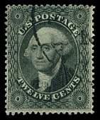 95: 1857 USA #36 WASHINGTON 12¢ BLACK