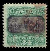 203: 1869 USA #120 PICTORIAL 24¢ GREEN & VIOLET