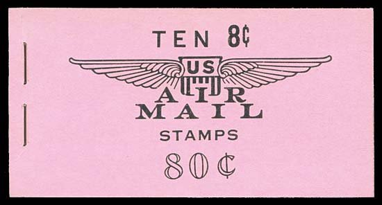 1058: USA #BKC17 AIRMAIL 80¢ BLACK ON PINK, TAGGED