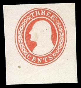 1059: 1853 USA #U1 WASHINGTON 3¢ RED, CUT SQUARE
