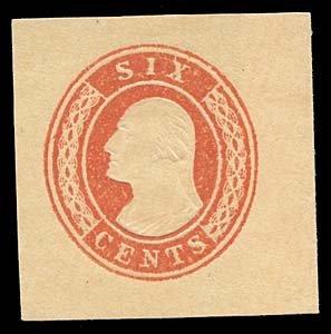 1060: 1853 USA #U12 WASHINGTON 6¢ RED, CUT SQUARE