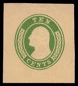 1062: 1855 USA #U18 WASHINGTON 10¢ GREEN ON BUFF