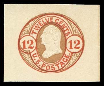 1063: USA #U42 WASHINGTON 12¢ RED & BROWN ON BUFF