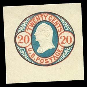 1064: 1861 USA #U43 WASHINGTON 20¢ CUT SQUARE