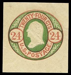 1065: 1861 USA #U44 WASHINGTON 24¢ CUT SQUARE
