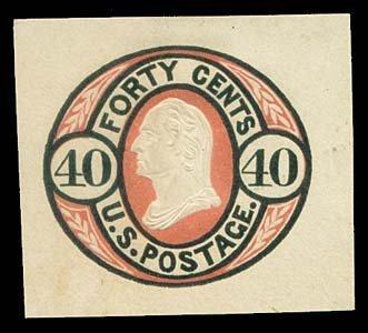 1066: 1861 USA #U45 WASHINGTON 40¢ CUT SQUARE